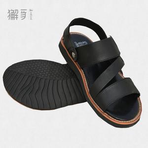 獬豸正品 真皮运动凉鞋 新款时尚商务休闲镂空透气凉拖两用真皮户外凉鞋
