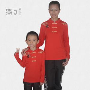 獬豸服饰 儿童中国扣云武长袖中式T恤 透气吸汗中国风武术运动服