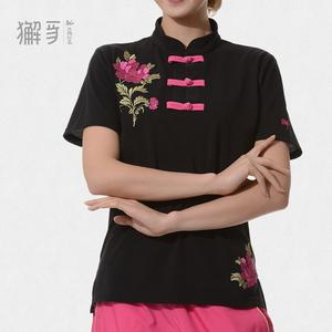 獬豸服饰 中国扣牡丹T恤 精美刺绣短袖中国风立领T恤 武术风T恤
